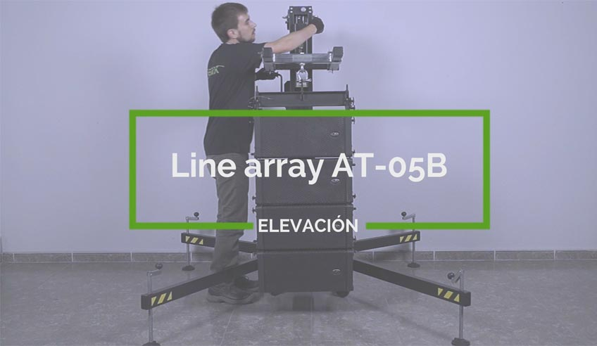 How to install a line array system with a frontal loading lifting tower?