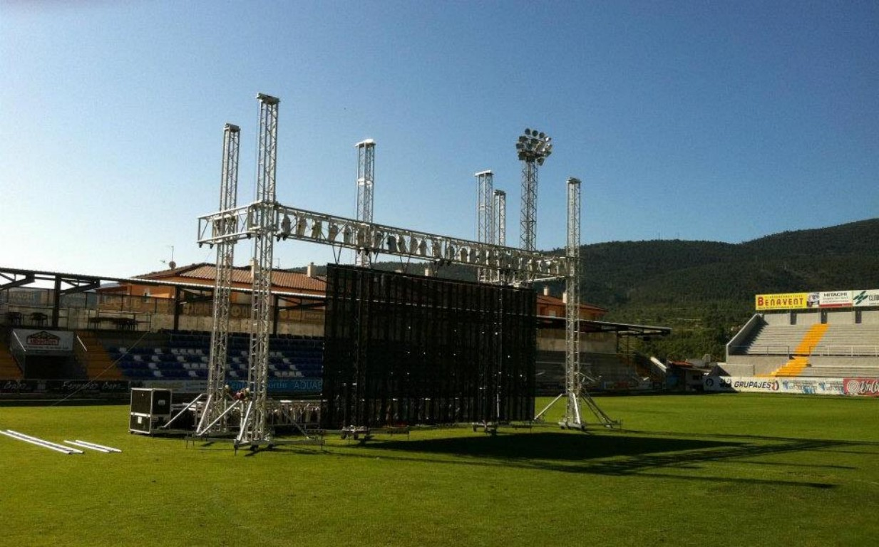 Scenario with truss and structural towers @ Alicante (Spain)