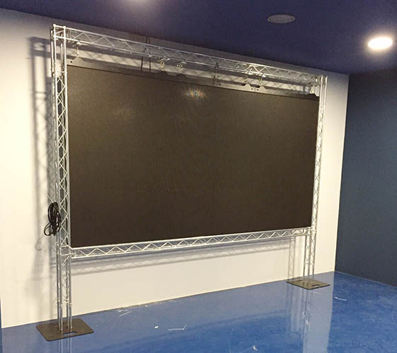 Trussing frame for LED screen @ Press Zone, Jose Rico Perez Stadium, Alicante (Spain)