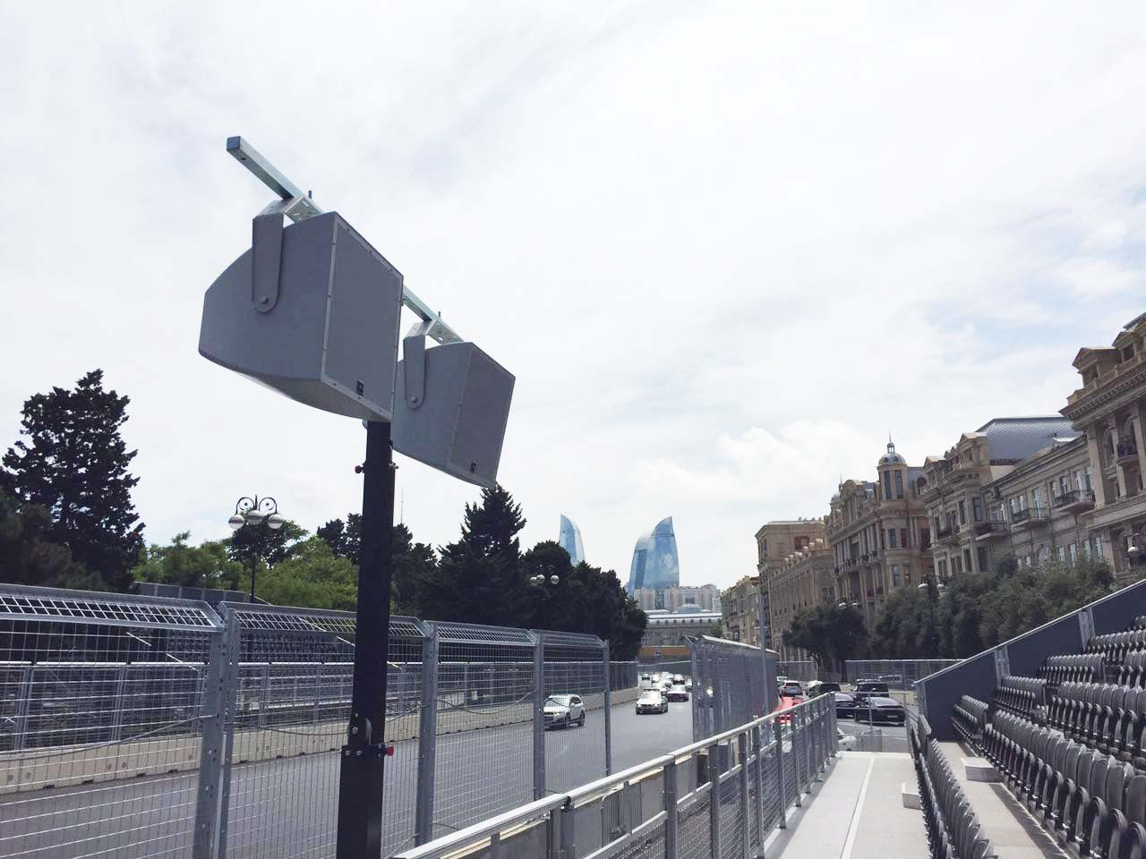 Lifting towers at F1 Gran Prix Of Europe @ Baku City Circuit, Baku (Azerbaijan)