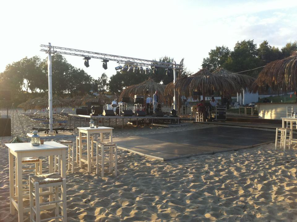 Towers and trusses for beach party @ Kyparissia, Messina (Greece)